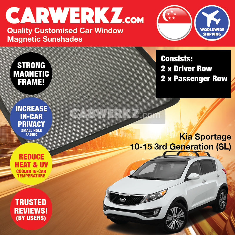 Kia Sportage 2010-2015 3rd Generation (SL) Korea Compact Crossover SUV Customised Car Window Magnetic Sunshades - CarWerkz