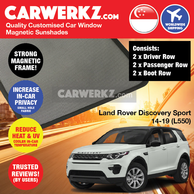 Land Rover Discovery Sport 2014-2019 (L550) United Kingdom Mid Size SUV Customised Car Window Magnetic Sunshades 6 Pieces - CarWerkz