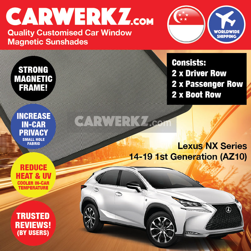 Lexus NX Series 2014-2020 1st Generation (AZ10) Japan Luxury Compact Crossover SUV Customised Car Window Magnetic Sunshades