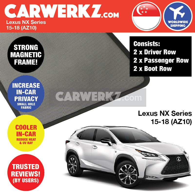 Lexus NX Series 2014-2020 1st Generation (AZ10) Japan Luxury Compact Crossover SUV Customised Car Window Magnetic Sunshades - CarWerkz