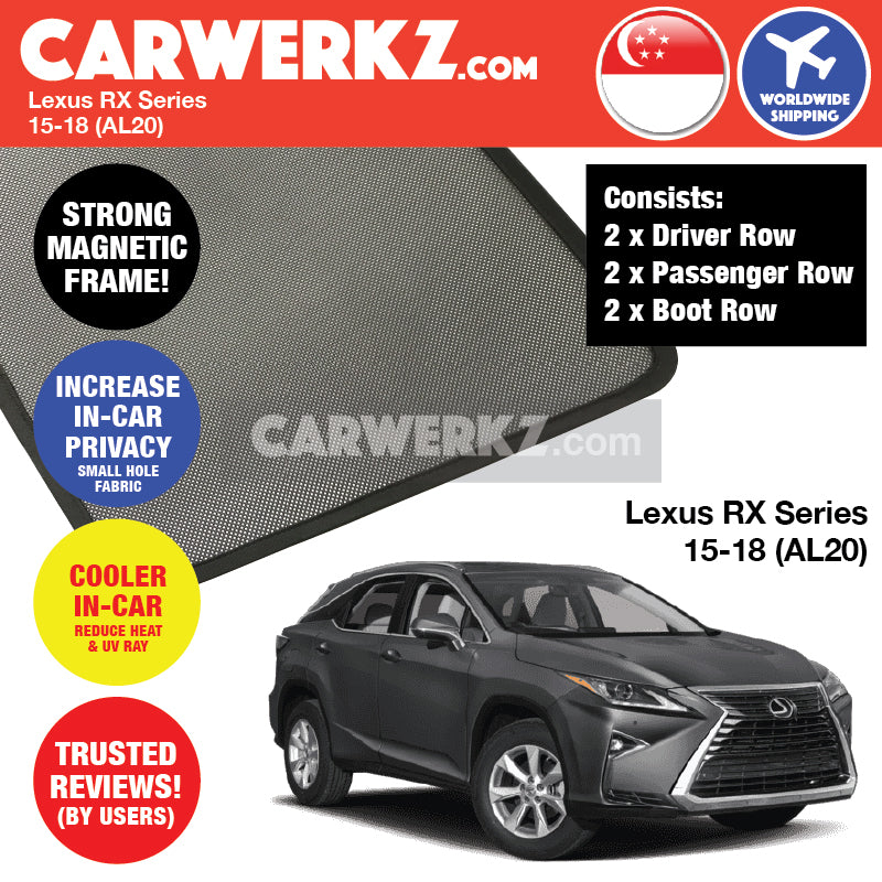 Lexus RX Series 2015-2019 4th Generation (AL20) Japan Luxury Compact Crossover SUV Customised Car Window Magnetic Sunshades - CarWerkz