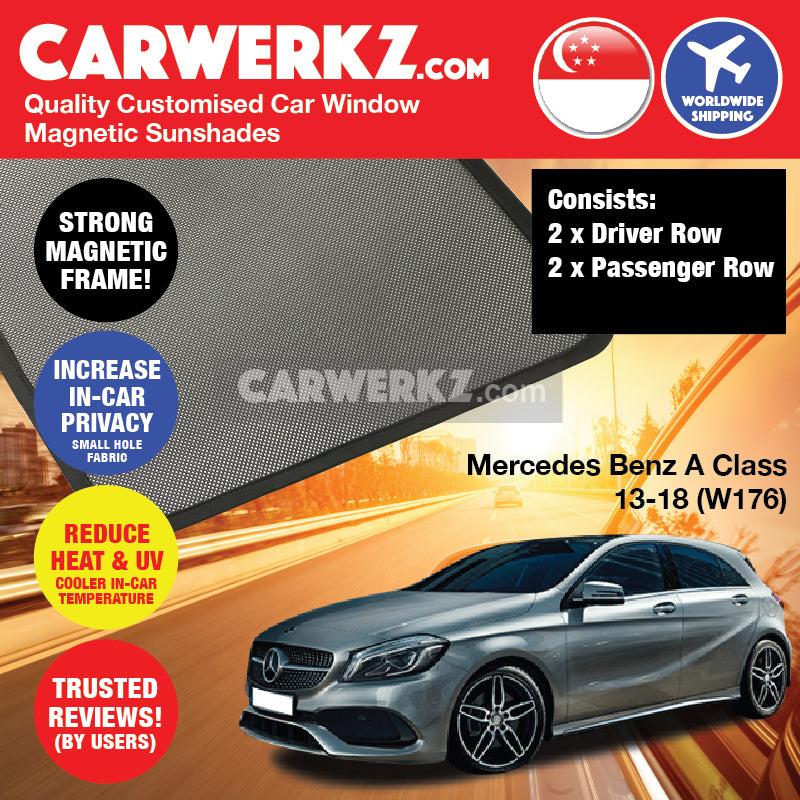 Mercedes Benz A Class Hatchback 2013-2018 (W176) Germany Hatchback Customised Car Window Magnetic Sunshades 4 Pieces - CarWerkz