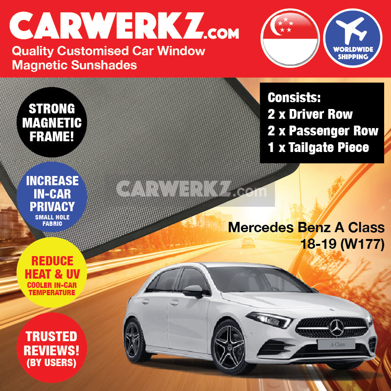 Mercedes Benz A Class Hatchback 2018-2020 4th Generation (W177) Germany Hatchback Customised Car Window Magnetic Sunshades - CarWerkz