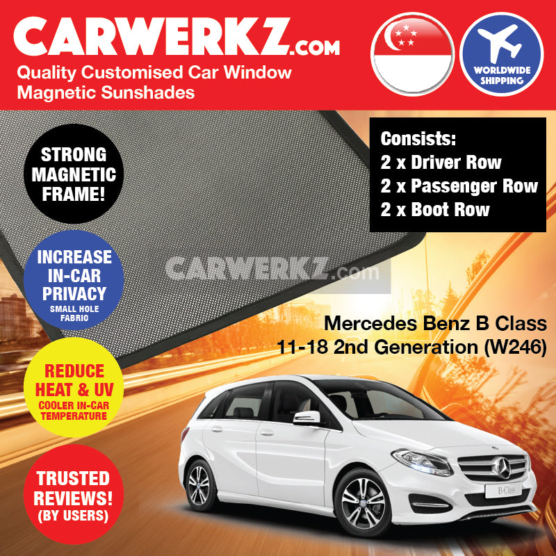Mercedes Benz B Class 2011-2018 2nd Generation (W246) Germany Hatchback Customised Car Window Magnetic Sunshades 6 Pieces - CarWerkz