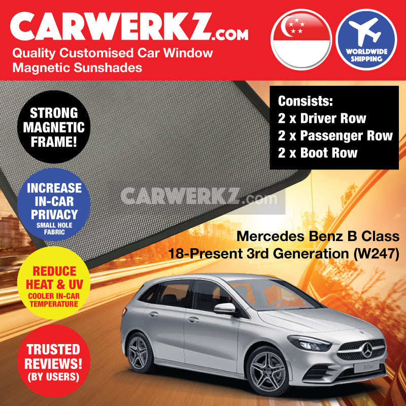 Mercedes Benz B Class 2018 2019 2020 2021 3rd Generation (W247) Germany Hatchback Customised Car Window Magnetic Sunshades 6 Pieces - carwerkz germany singapore japan australia