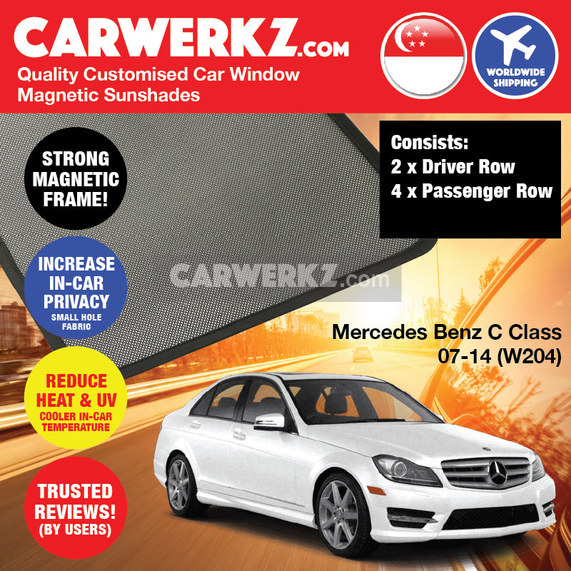 Mercedes Benz C Class 2007-2014 (W204) Germany Sedan Customised Car Window Magnetic Sunshades 6 Pieces - CarWerkz