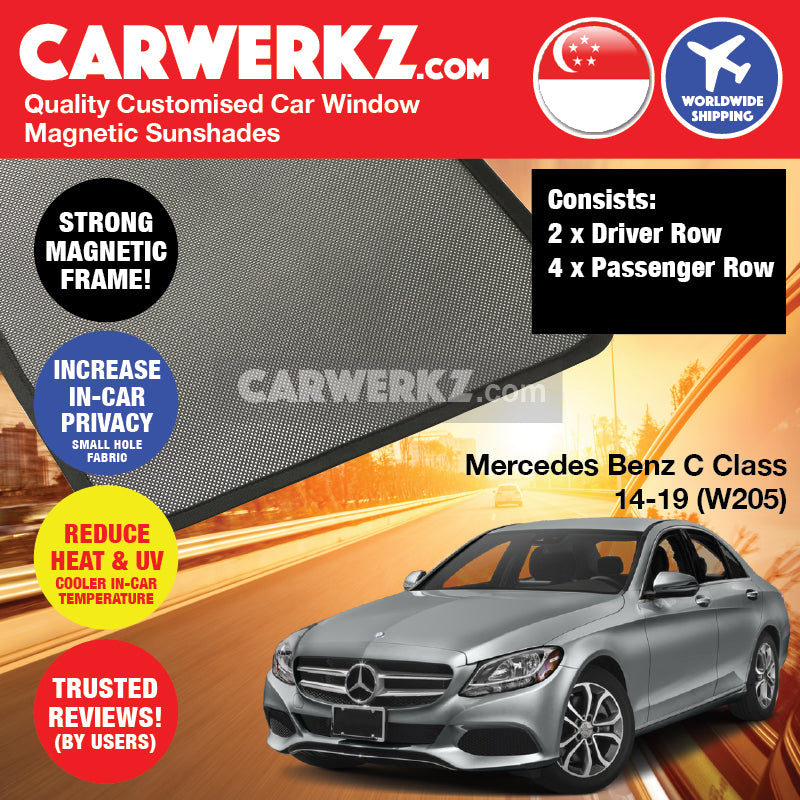 Mercedes Benz C Class 2014-2019 (W205) Germany Compact Executive Customised Car Window Magnetic Sunshades 6 Pieces - CarWerkz