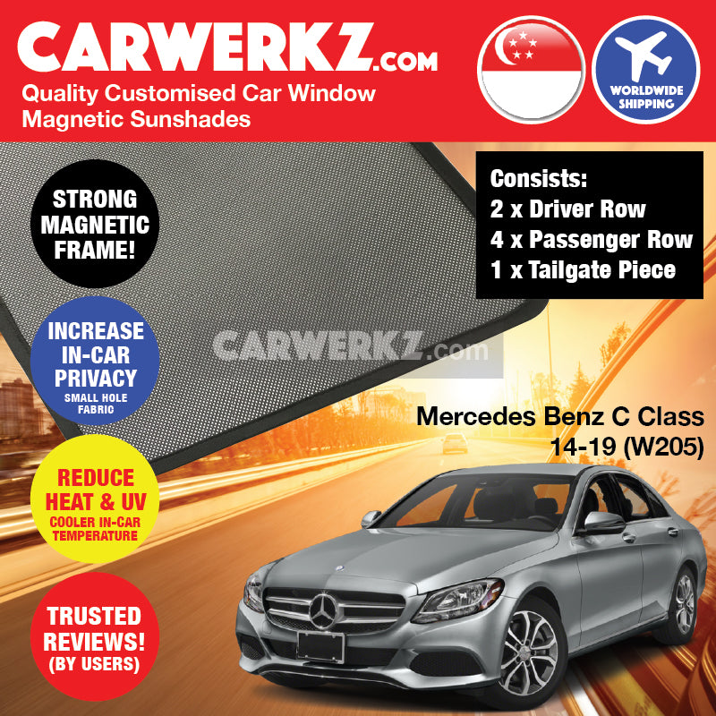 Mercedes Benz C Class 2014-2020 (W205) Germany Compact Executive Customised Car Window Magnetic Sunshades - CarWerkz