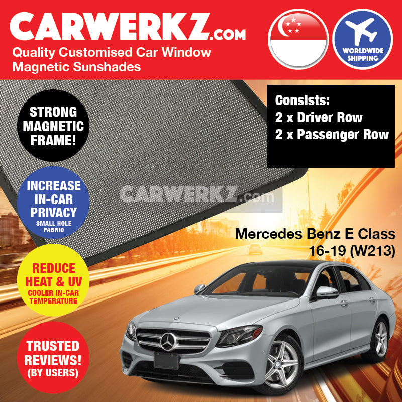 Mercedes Benz E Class 2016 2017 2018 2019 5th Generation (W213) Germany Executive Sedan Customised Car Window Magnetic Sunshades 4 Pieces - carwerkz singapore australia malaysia
