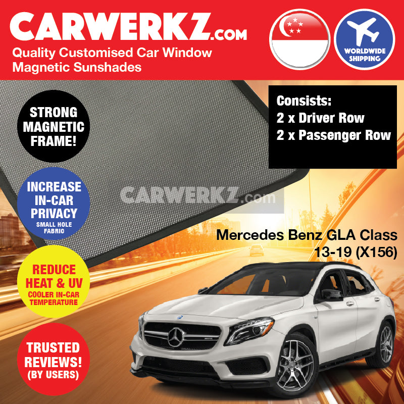 Mercedes Benz GLA Class 2013 2014 2015 2016 2017 2018 2019 (X156) Germany Subcompact Crossover Customised Car Window Magnetic Sunshades 4 Pieces - carwerkz singapore australia malaysia