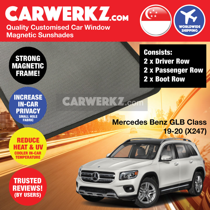 Mercedes Benz GLB Class 2019-2020 1st Generation (X247) Germany Compact Luxury SUV Customised Car Window Magnetic Sunshades - CarWerkz
