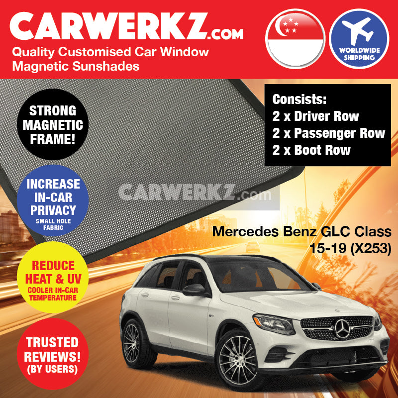 Mercedes Benz GLC Class 2015-2019 (X253) Germany Compact Luxury SUV Customised Car Window Magnetic Sunshades 6 Pieces - CarWerkz