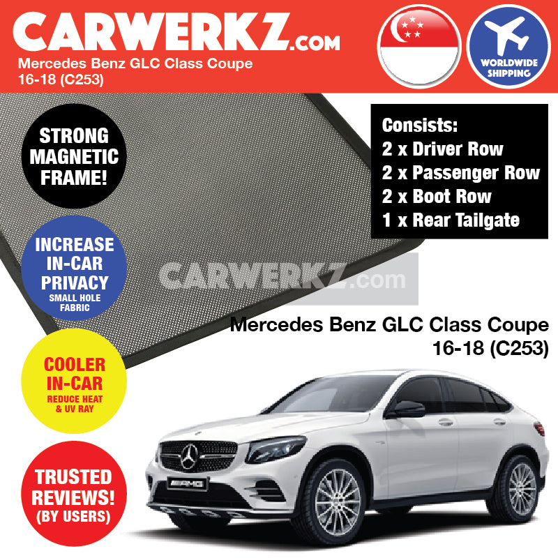 Mercedes Benz GLC Class Coupe 2016-2020 (C253) Germany Luxury SUV Customised Car Window Magnetic Sunshades - CarWerkz