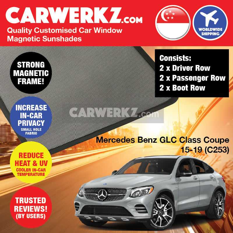 Mercedes Benz GLC Class Coupe 2016 2017 2018 2019 (C253) Germany Luxury SUV Customised Car Window Magnetic Sunshades - carwerkz singapore australia malaysia