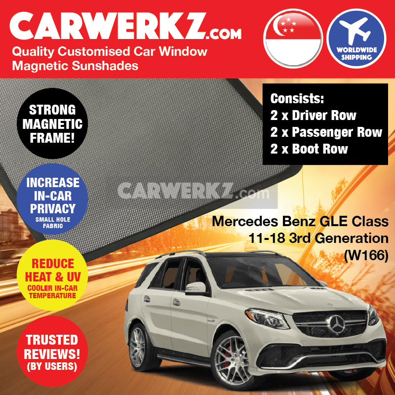 Mercedes Benz GLE Class 2012-2019 3rd Generation (W166) German Luxury SUV Customised Car Window Magnetic Sunshades - CarWerkz