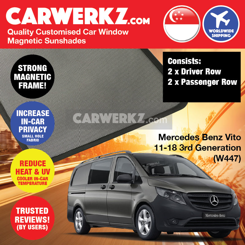 Mercedes Benz Vito 2014-2019 3rd Generation (W447) Germany Light Commercial Van Customised Window Magnetic Sunshades 4 Pieces - CarWerkz