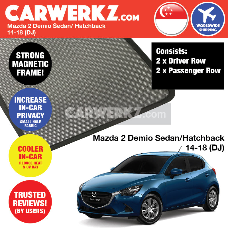 Mazda 2 Demio Sedan Hatchback 2014-2020 4th Generation (DJ) Japan Automotive Customised Car Window Magnetic Sunshades - CarWerkz