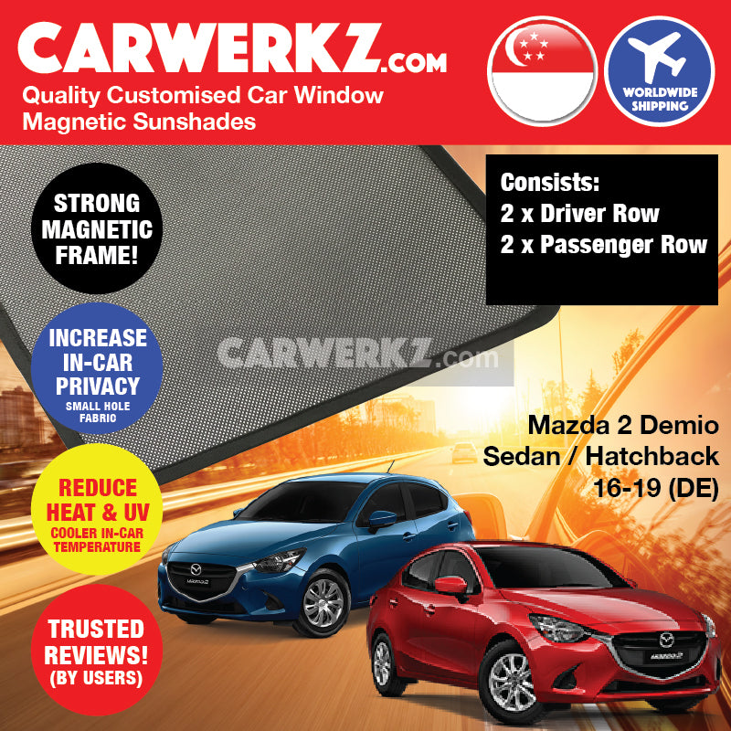 Mazda 2 Demio Sedan Hatchback 2014-2019 (DJ) Japan Automotive Customised Car Window Magnetic Sunshades - CarWerkz