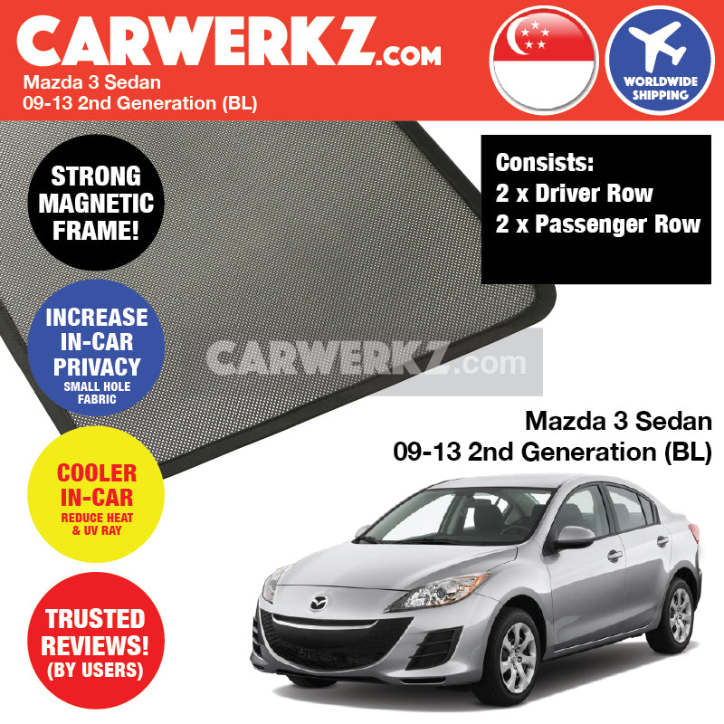 Mazda 3 2009-2013 2nd Generation (BL) Sedan Customised Car Window Magnetic Sunshades - CarWerkz