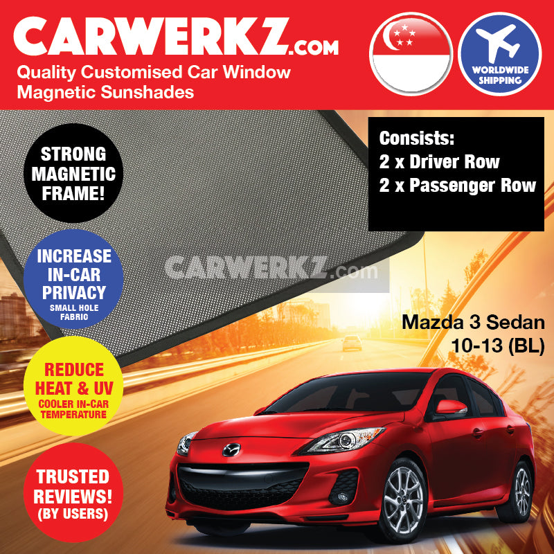 Mazda 3 Axela 2009-2013 2nd Generation (BL) Japan Sedan Customised Car Window Magnetic Sunshades - CarWerkz
