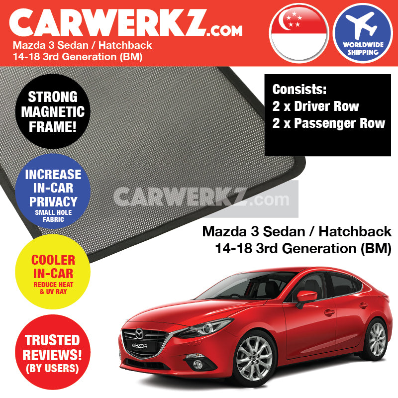 Mazda 3 Sedan Hatchback 2013-2018 3rd Generation (BM BN) Japan Automotive Customised Car Window Magnetic Sunshades 4 Pieces - CarWerkz
