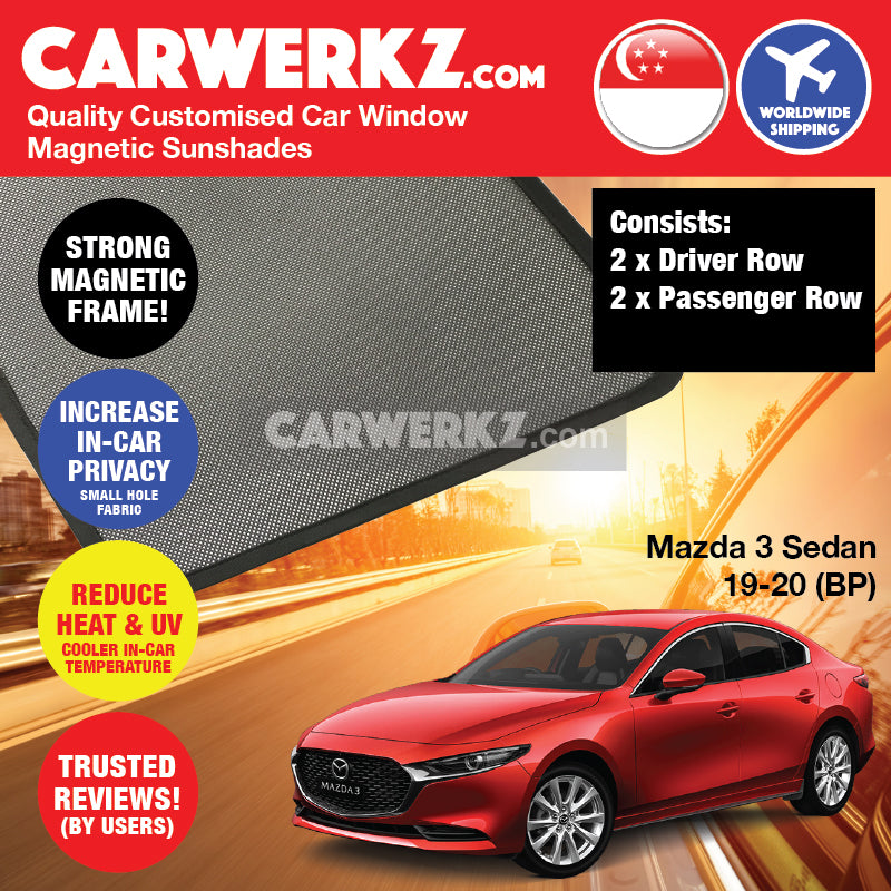 Mazda 3 Axela Sedan 2019-2019 4th Generation (BP) Japan Sedan Customised Car Window Magnetic Sunshade 4 Pieces - carwerkz sg my jp au br