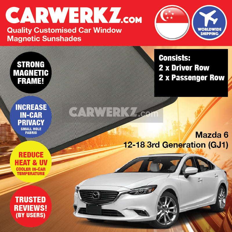 Mazda 6 2012-2018 3rd Generation (GJ1) Japan Sedan Customised Car Window Magnetic Sunshades 4 Pieces - CarWerkz
