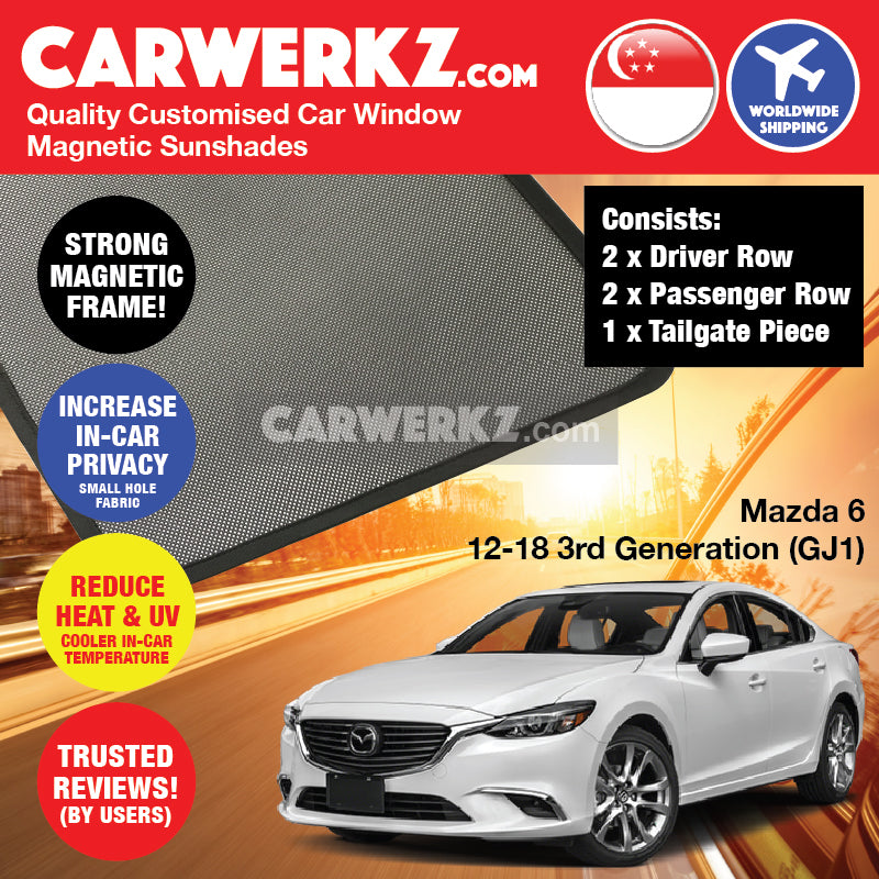 Mazda 6 2012-2018 3rd Generation (GJ1) Japan Sedan Customised Car Window Magnetic Sunshades 4 Pieces + Rear Tailgate 1 Piece FULL SET - CarWerkz