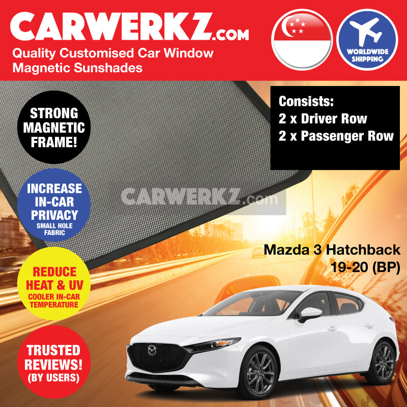 Mazda 3 Axela Hatchback 2019-2020 4th Generation (BP) Japan Hatchback Customised Car Window Magnetic Sunshades - CarWerkz
