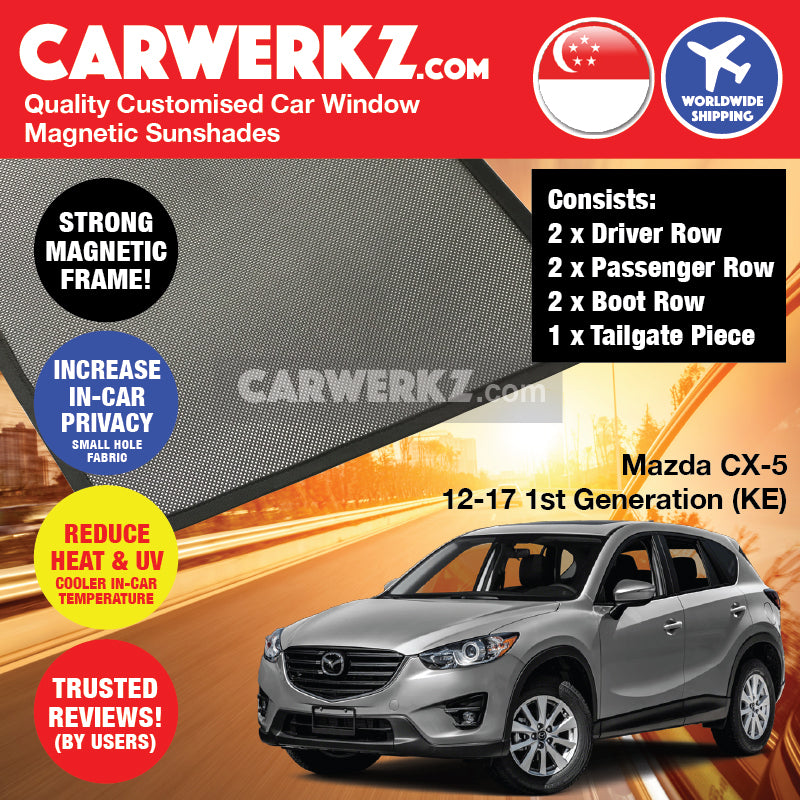 Mazda CX-5 2012-2017 1st Generation (KE) Japan Compact Crossover Customised Car Window Magnetic Sunshades 6 Pieces + Tailgate piece FULL SET - CarWerkz