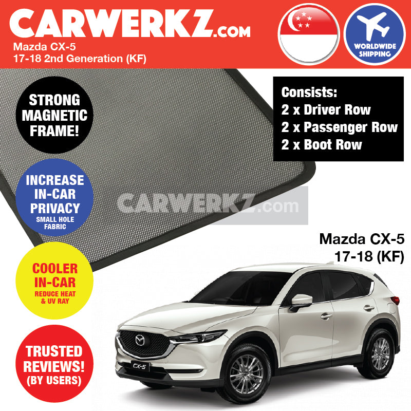 Mazda CX-5 2017-2019 2nd Generation (KF) Japan Compact Crossover SUV Customised Car Window Magnetic Sunshades 6 Pieces - CarWerkz