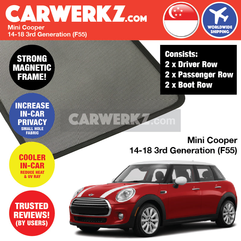 Mini Cooper Hatchback 2014-2018 3rd Generation (F55) Customised Car Window Magnetic Sunshades 6 Pieces - CarWerkz