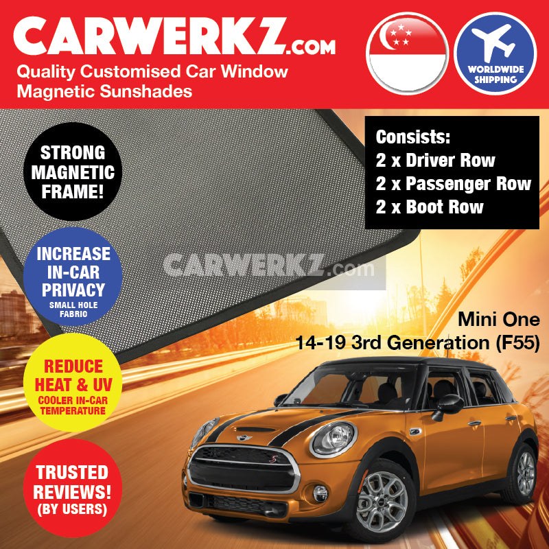 Mini Cooper One Hatchback 2014 2015 2016 2017 2018 2019 3rd Generation (F55) United Kingdom Automotive Customised Car Window Magnetic Sunshades 6 Pieces - carwerkz singapore australia malaysia