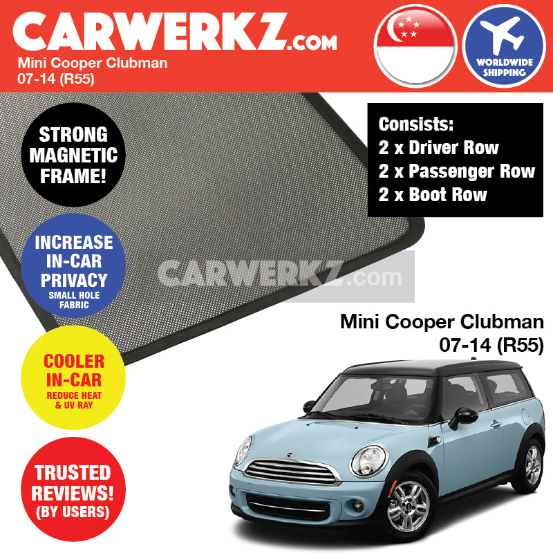 Mini Cooper S Clubman 2007-2014 1st Generation (R55) Customised Car Window Magnetic Sunshades