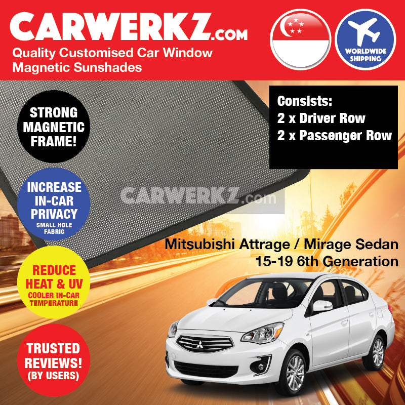 Mitsubishi Attrage / Mirage Sedan 2015 2016 2017 2018 2019 6th Generation Customised Car Window Magnetic Sunshades 4 Pieces - carwerkz singapore malaysia australia