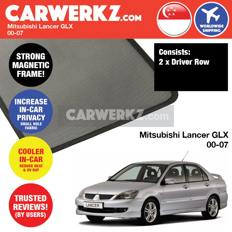 Mitsubishi Lancer GLX 2000-2007 Customised Car Window Magnetic Sunshades 2 Pieces (2D) - CarWerkz