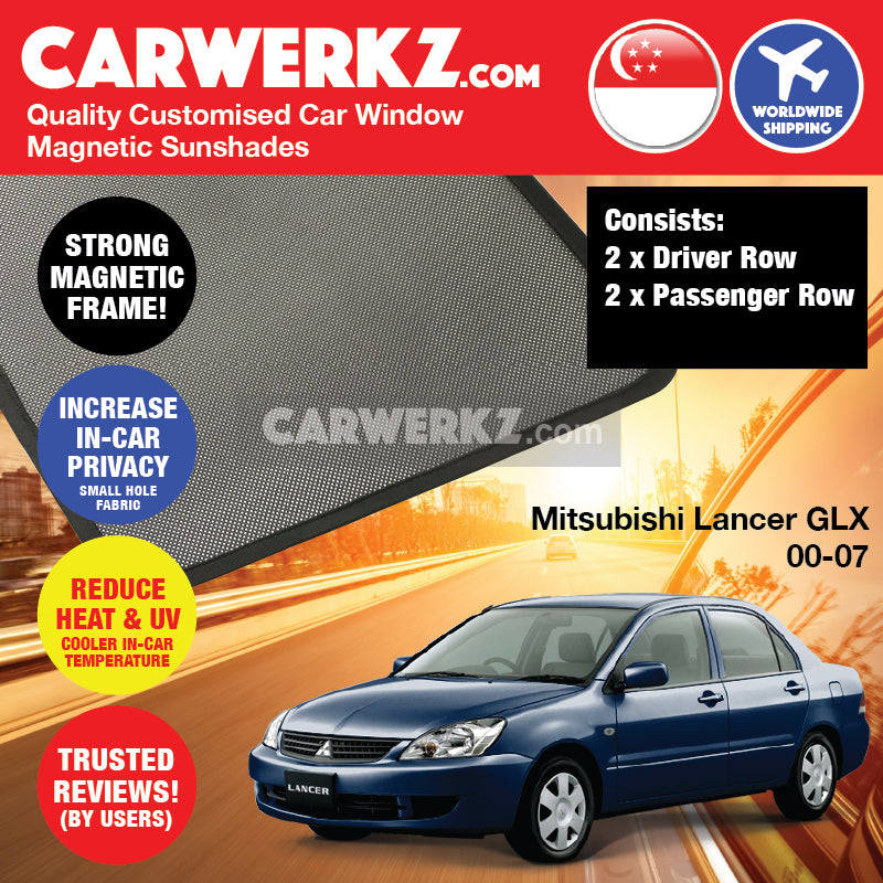 Mitsubishi Lancer GLX 2000 2001 2002 2003 2004 2005 2006 2007 Japan Sedan Customised Car Window Magnetic Sunshades 4 Pieces - carwerkz singapore australia malaysia