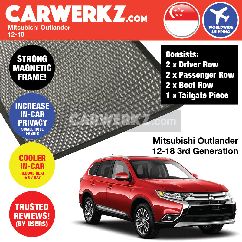 Mitsubishi Outlander 2013-2020 3rd Generation (GF/ GG/ ZJ/ ZK) Japan 7 Seater Crossover Customised SUV Window Magnetic Sunshades - CarWerkz