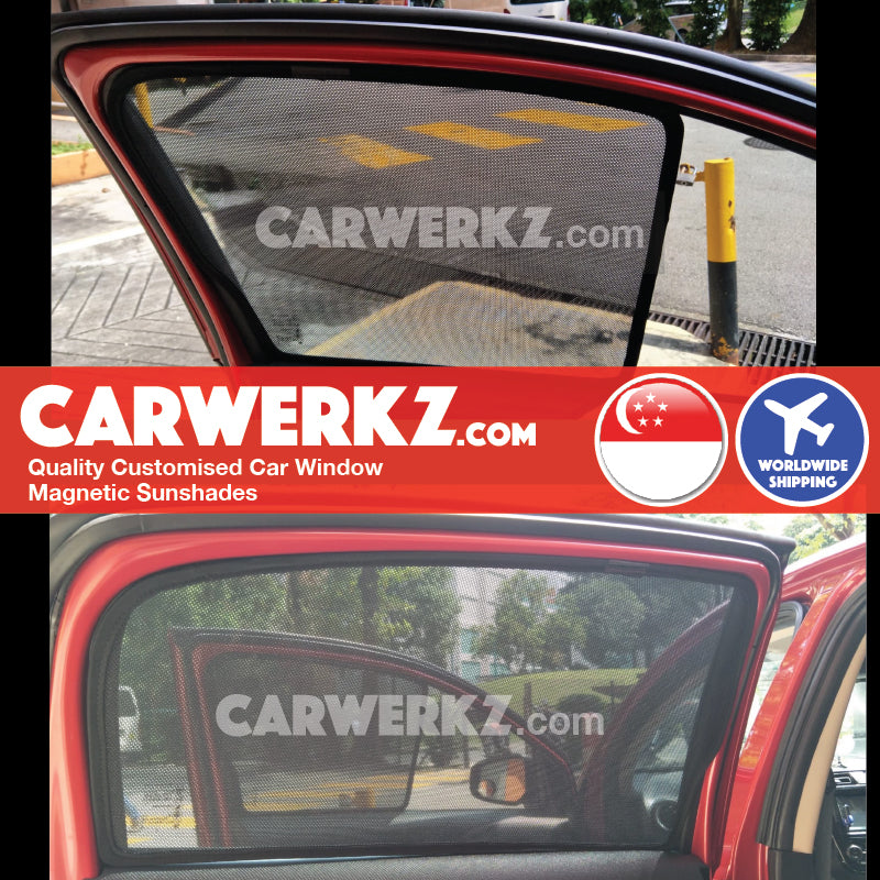Mitsubishi Space Star Mirage ES 2015 2016 2017 2018 2019 6th Generation Japan Hatchback Customised Magnetic Sunshades 4 Pieces installed photos fitting photos - carwerkz singapore malaysia australia