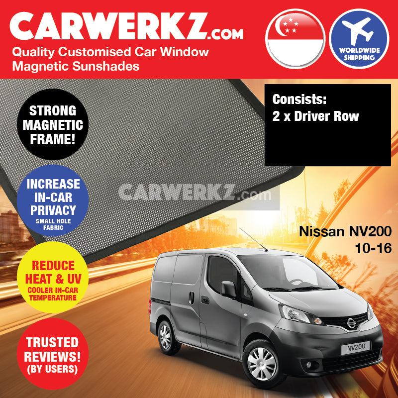 Nissan NV200 2010 2011 2012 2013 2014 2015 2016 Light Commercial Van Customised Car Window Magnetic Sunshades 2 Pieces - carwerkz singapore australia malaysia