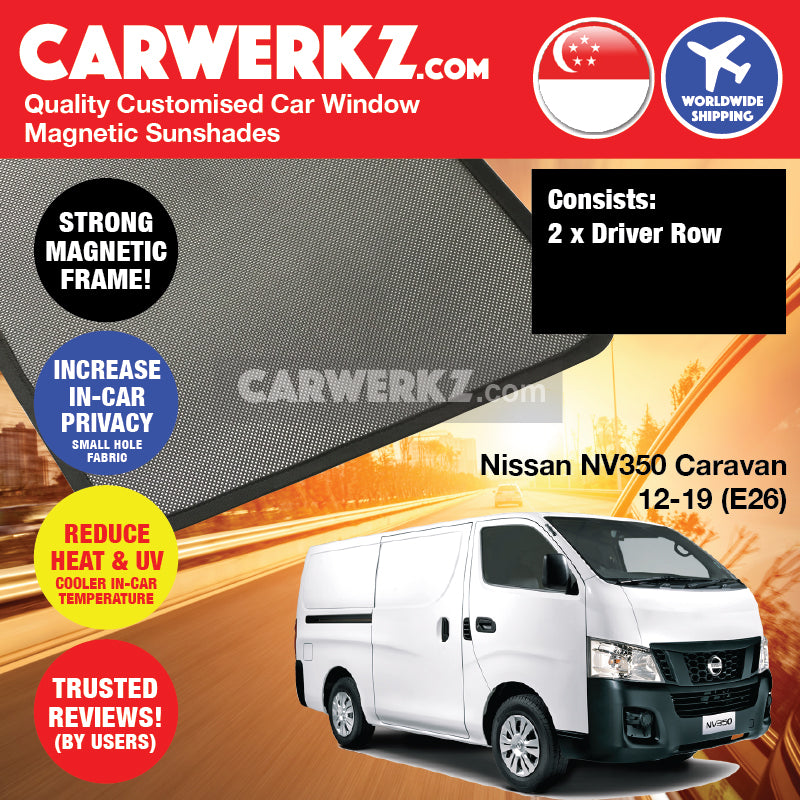 Nissan NV350 Caravan 2012 2013 2014 2015 2016 2017 2018 2019 (E26) Light Commercial Van Customised Window Magnetic Sunshades 2 Pieces - carwerkz singapore malaysia australia