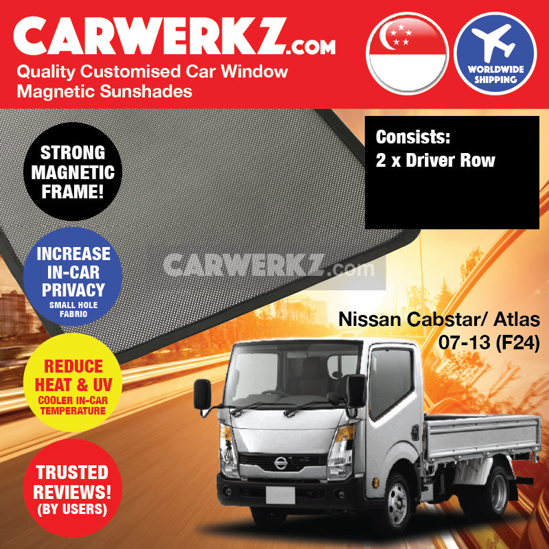 Nissan Cabstar Atlas 2007 2008 2009 2010 2012 2013 (F24) Japan Truck Customised Lorry Truck Window Magnetic Sun Shades - carwerkz singapore australia malaysia
