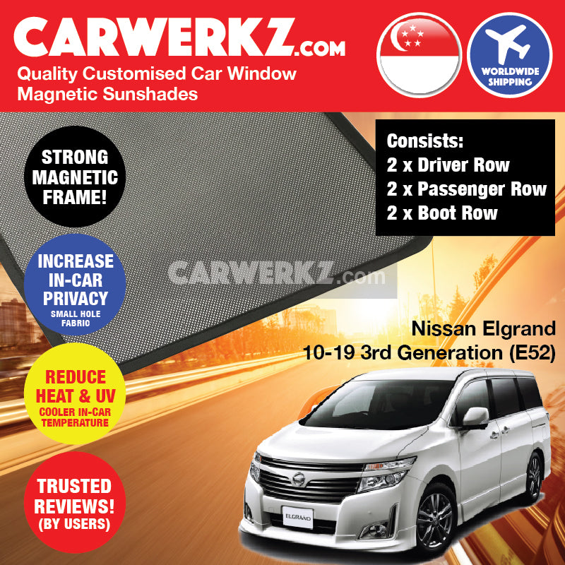 Nissan Elgrand 2010 2011 2012 2013 2014 2015 2016 2017 2018 2019 3rd Generation (E52) Japan Minivan Customised Car Window Magnetic Sunshades 6 Pieces - carwerkz singapore malaysia australia
