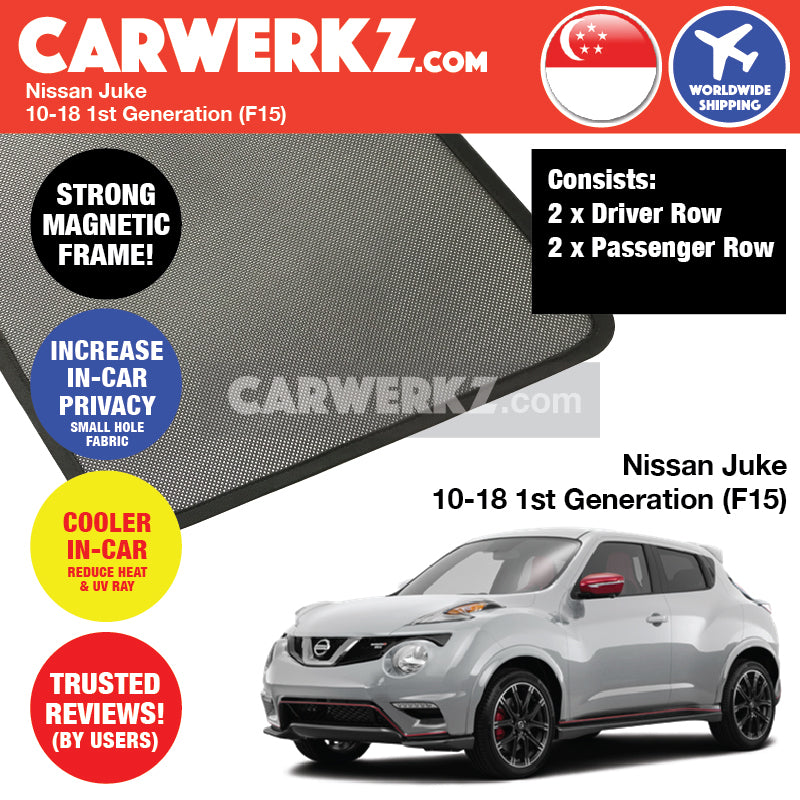 Nissan Juke Infiniti ESQ 2010-2018 1st Generation (F15) Customised Japan Subcompact Crossover SUV Window Magnetic Sunshades - CarWerkz