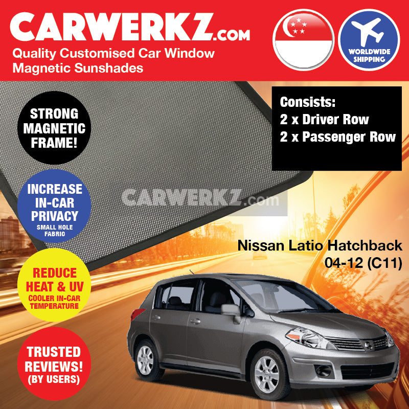 Nissan Latio Tiida Hatchback 2004-2012 1st Generation (C11) Japan Hatchback Customised Car Window Magnetic Sunshades - CarWerkz