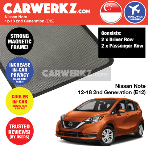 Nissan Note Hatchback Car Accessories 2012 2013 2014 2015 2016 2017 2018 2nd Generation (E12) Customised Car Window Magnetic Sunshades