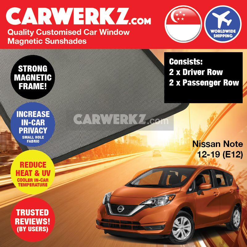 Nissan Note 2012-2019 2nd Generation (E12) Japan Hatchback Customised Car Window Magnetic Sunshades 4 Pieces - CarWerkz
