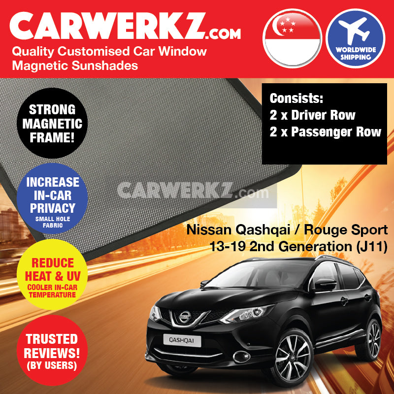 Nissan Qashqai Rouge Sport 2013 2014 2015 2016 2017 2018 2019 2nd Generation (J11) Japan Compact Crossover Customised SUV Window Magnetic Sunshades 4 Pieces - carwerkz singapore malaysia australia