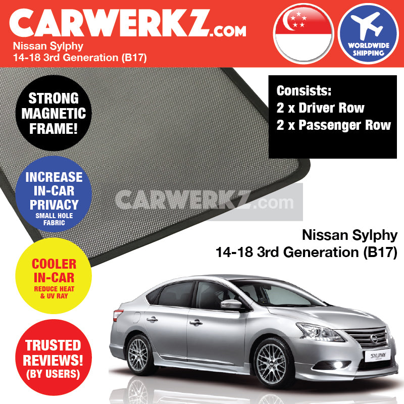 Nissan Sylphy 2014-2016 3rd Generation (B17) Magnetic Sunshades - CarWerkz