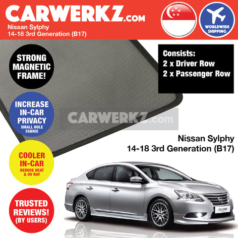 Nissan Sylphy Sedan Car Accessories 2014 2015 2016 2017 2018 3rd Generation (B17) Customised Car Window Magnetic Sunshades